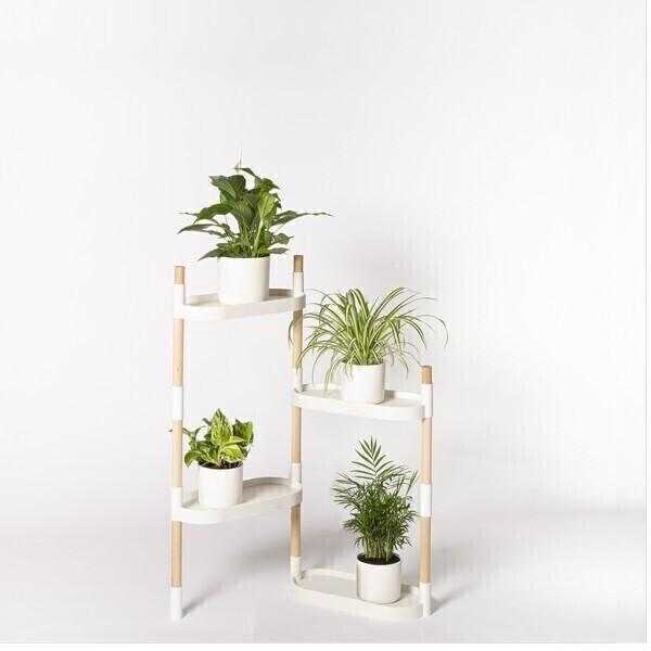 Citysens - Étagère à 4 plateaux avec plantes Blanc
