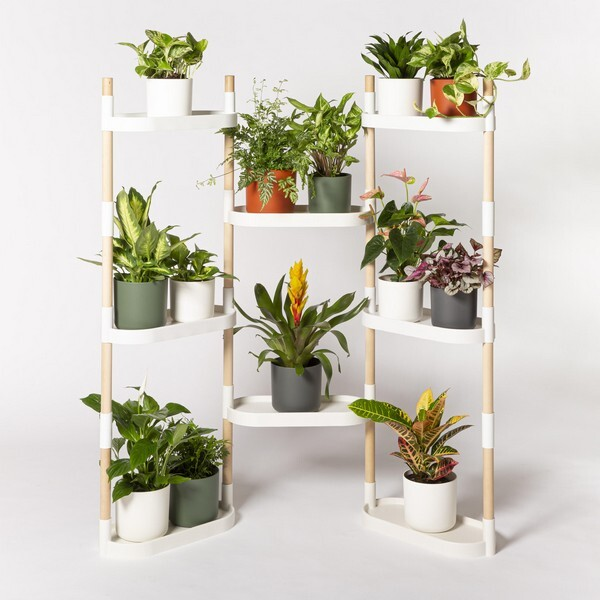 Citysens - Étagère à 8 plateaux avec plantes Blanc