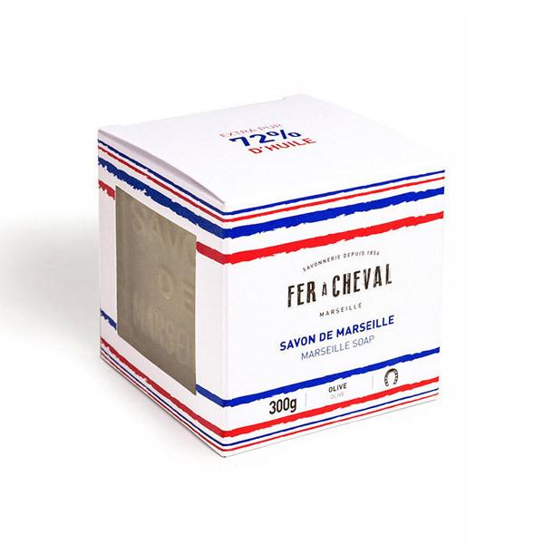 Fer à Cheval - Savon de Marseille Cube Olive Bleu, blanc, rouge 300g