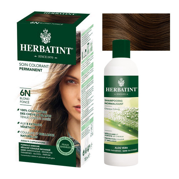 Herbatint - Lot Soin colorant 6N Blond Foncé et Shampooing normalisant
