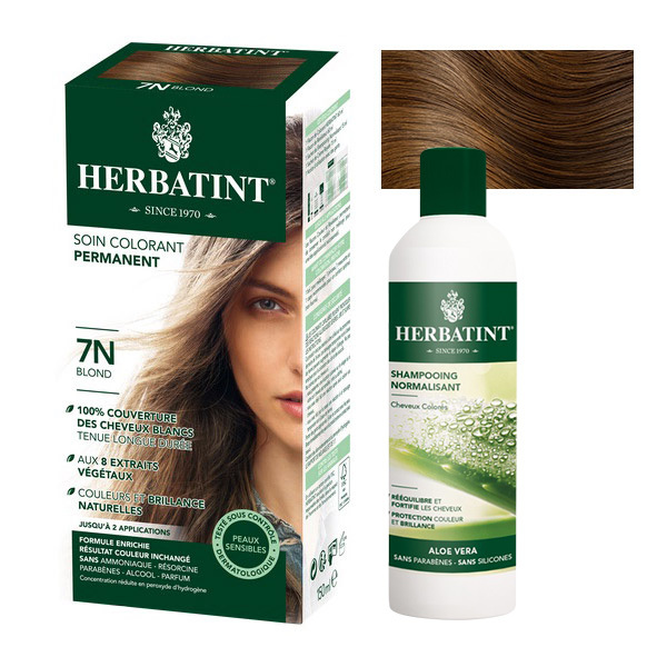 Herbatint - Lot Soin colorant permanent 7N Blond et Shampooing normalisant