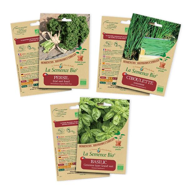 La Semence Bio - Lot de 3 sachets de graines à semer Aromatiques bio