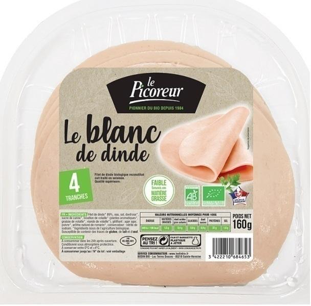 Le Picoreur - Blanc de Dinde Bio x4 160g