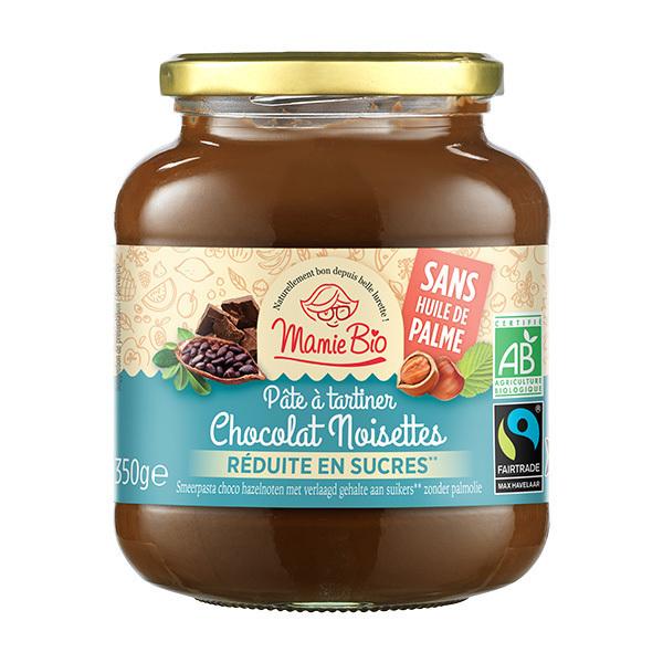 Mamie Bio - Pâte à tartiner chocolat noisette allégée en sucre 350g
