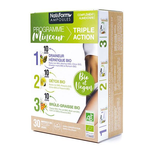 Nat & Form - Programme minceur bio triple action - Pack de 30 ampoules