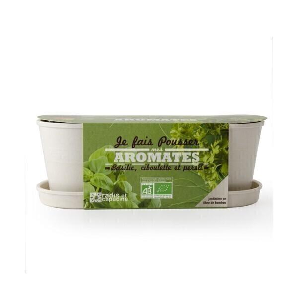 Radis et Capucine - Jardinière en bambou avec graines d'aromates bio