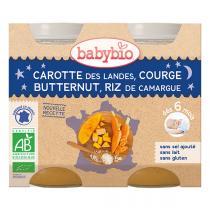 Babybio - Carottes butternut et riz Bonne Nuit 2x200g - Dès 6 mois