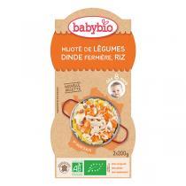 Babybio - Mijoté de dinde et riz 2x200g - Dès 8 mois