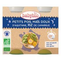 Babybio - Petits pois maïs et riz Bonne Nuit 2x200g - Dès 6 mois