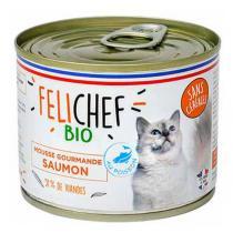 Felichef - Lot de 6 x Mousse bio sans céréales chat Saumon 200g