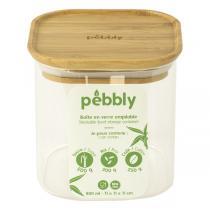 Pebbly - Boîte carrée en verre et bambou 80cl