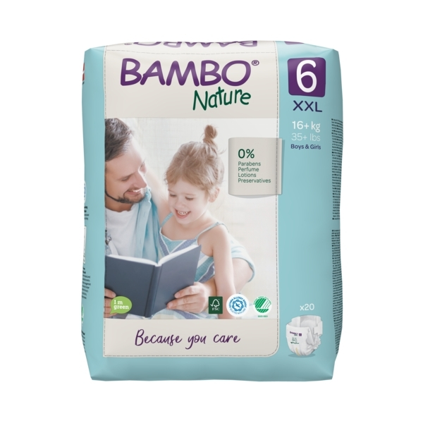 Bambo Nature - Pack 4x20 couches écologiques T6 XXL 16+kg