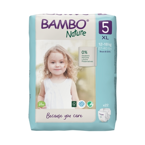 Bambo Nature - Pack 8x22 couches écologiques T5 XL 12-18kg
