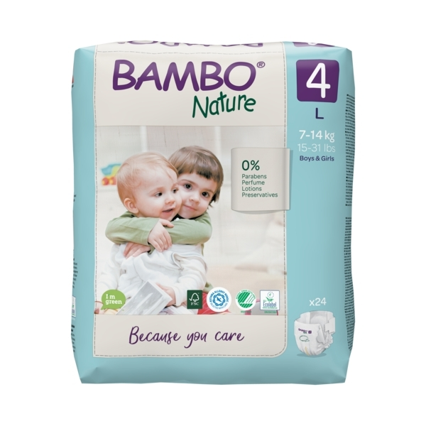 Bambo Nature - Pack 4x24 couches écologiques T4 L 7-14kg