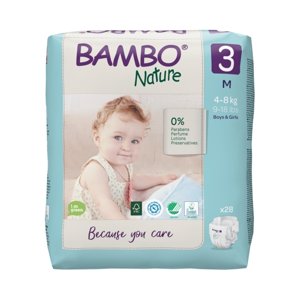 Bambo Nature - Pack 8x28 couches écologiques T3 M 4-8 kg