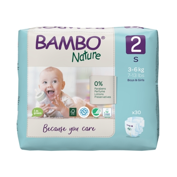 Bambo Nature - Pack 4x30 couches écologiques T2 S 3-6kg