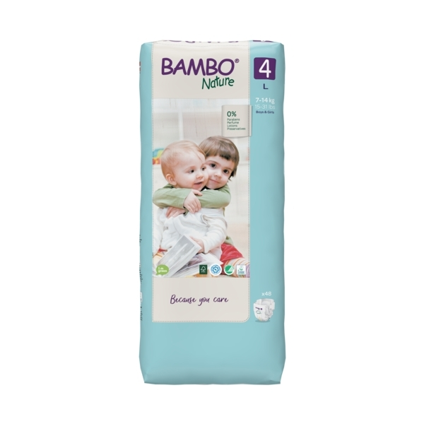 Bambo Nature - Pack 4x48 couches écologiques Jumbo T4 L 7-14kg