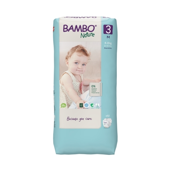 Bambo Nature - Pack 8x52 couches écologiques Jumbo T3 M 4-8 kg