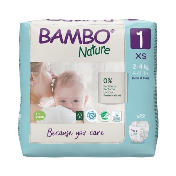 Bambo Nature - Pack 4x22 couches écologiques T1 XS 2-4 kg