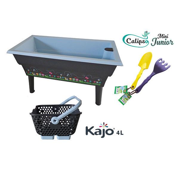 Calipso - Jardinière Mini Junior double bac 40L Gris et Bleu