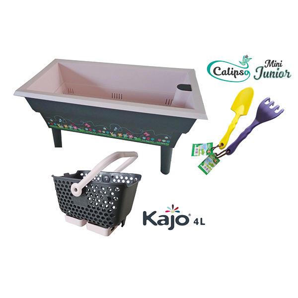 Calipso - Jardinière Mini Junior double bac 40L Gris et Rose
