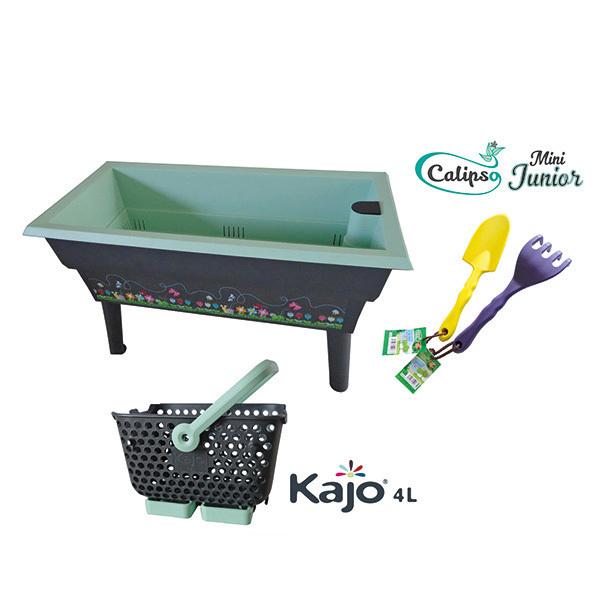 Calipso - Jardinière Mini Junior double bac 40L Gris et Vert