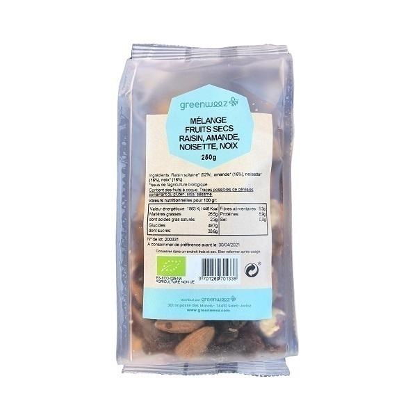 Greenweez - Mélange fruits secs raisin noix noisettes amandes bio 250g