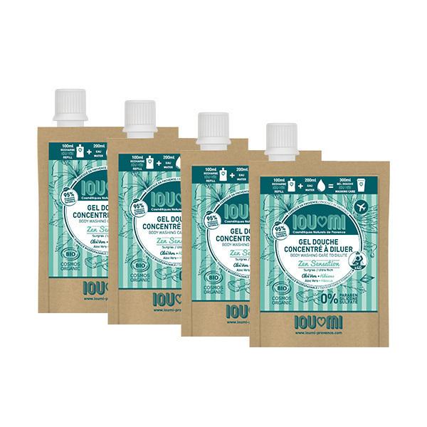 IOUMI - Pack de 4x100ml recharges gel douche Aloé véra & Hibiscus