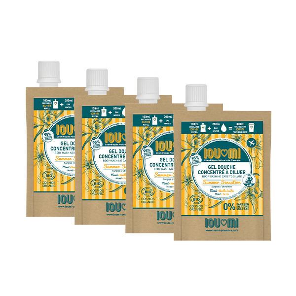 IOUMI - Pack de 4x100ml recharges gel douche Vanille & Huile de Monoï