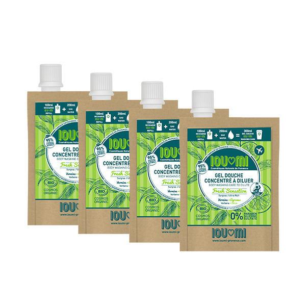 IOUMI - Pack de 4x100ml recharges gel douche Verveine & Agrumes