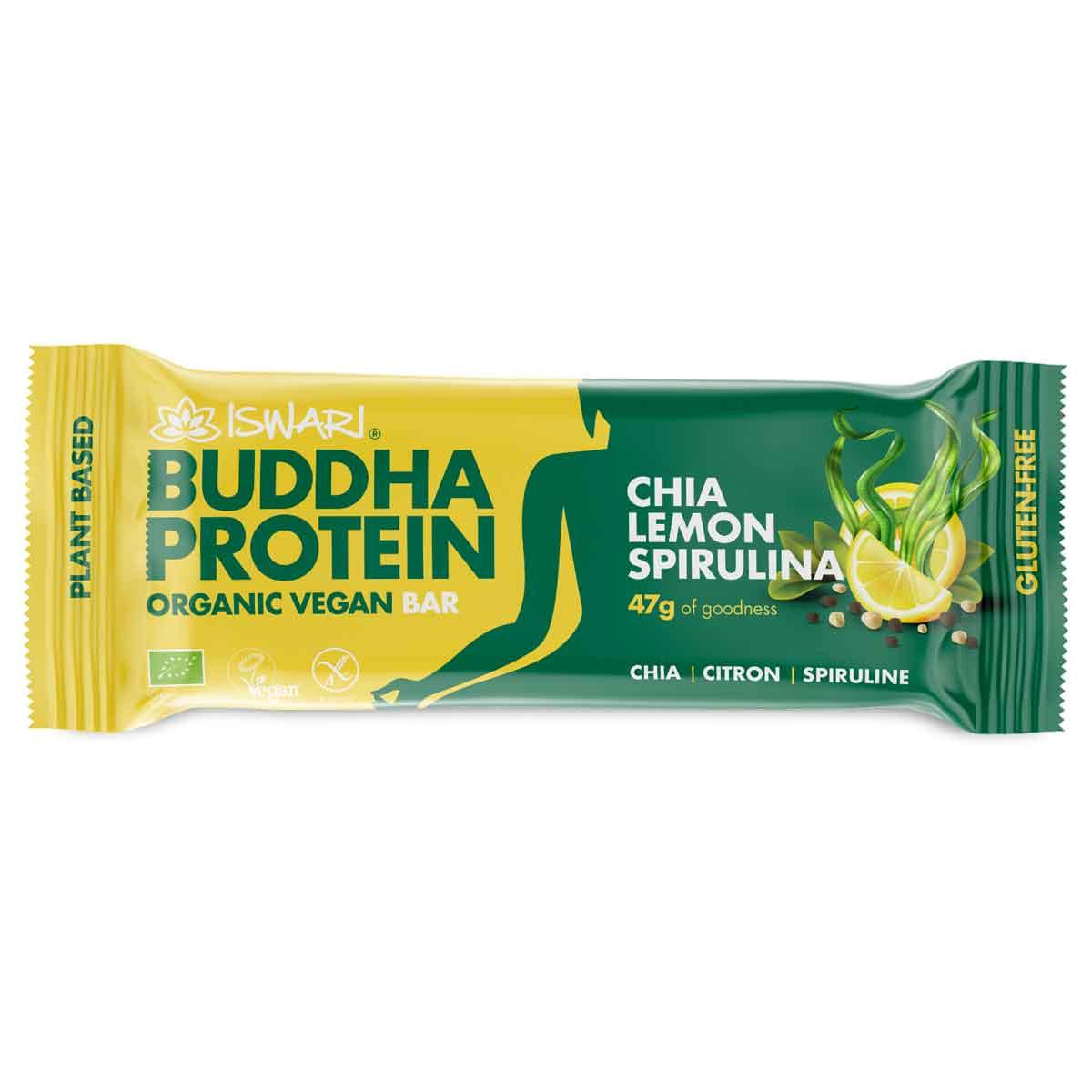 Iswari - Barre Bouddha Proteine Chia Citron Spiruline 47g