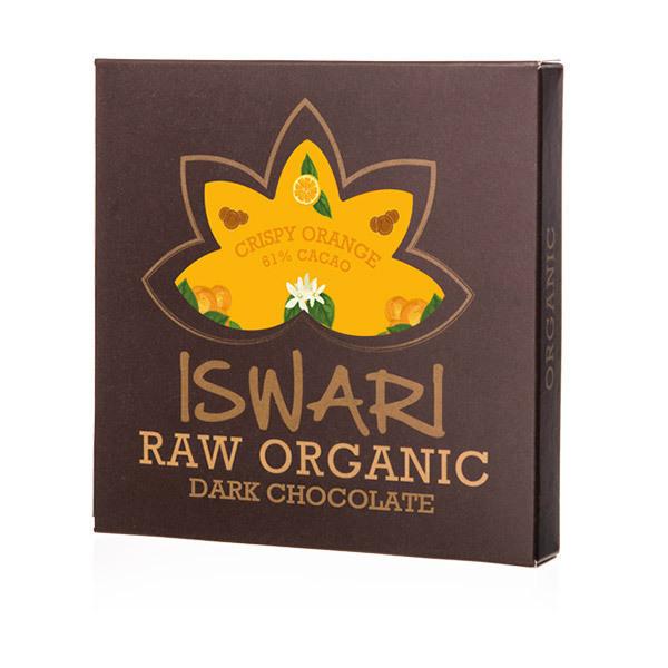 Iswari - Tablette de chocolat cru orange aux grains de riz soufflés