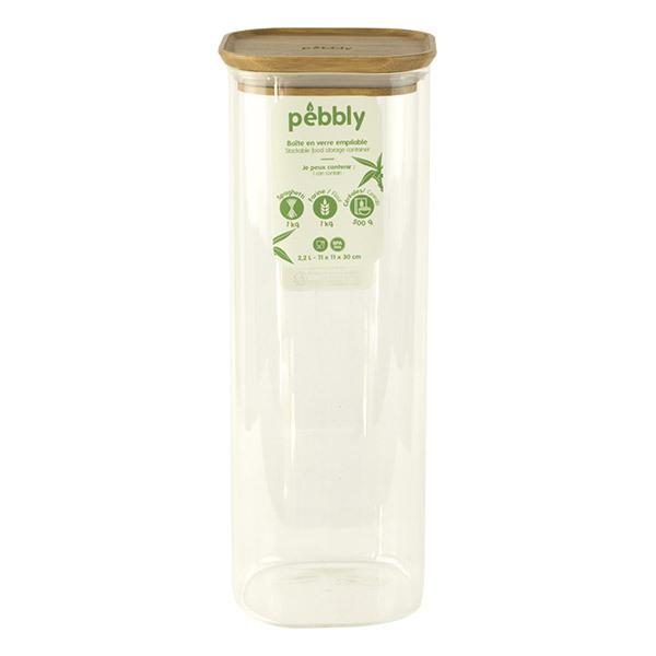 Pebbly - Boîte haute carrée en verre et bambou 2,2L
