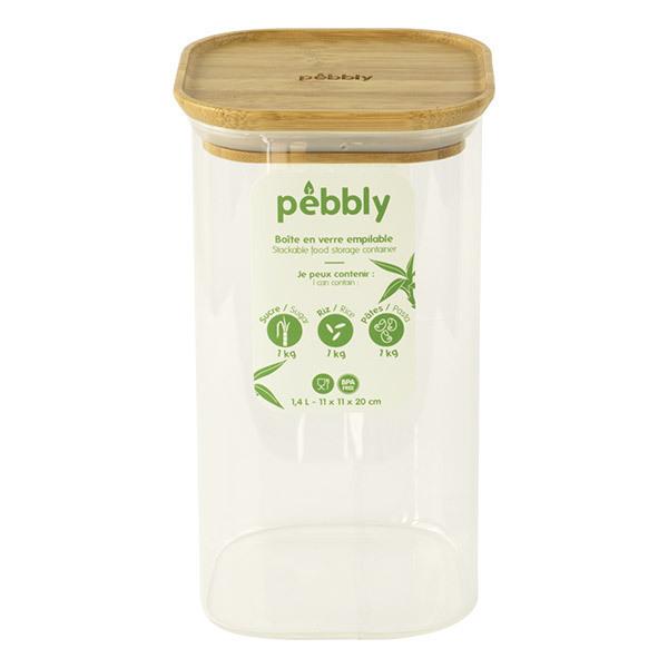 Pebbly - Boîte haute carrée en verre et bambou 1,4L