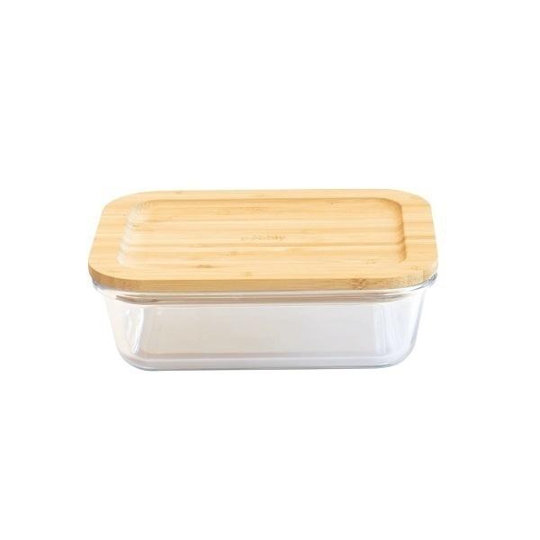 Pebbly - Boîte rectangulaire en verre et bambou 65cl