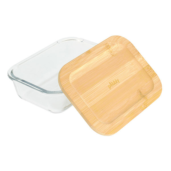 Pebbly - Boîte rectangulaire en verre et bambou 1L