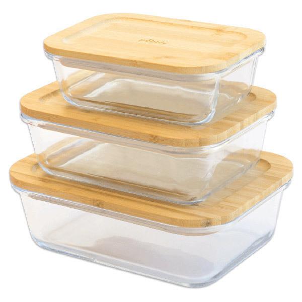 Pebbly - Set de 3 boîtes rectangulaires en verre et bambou