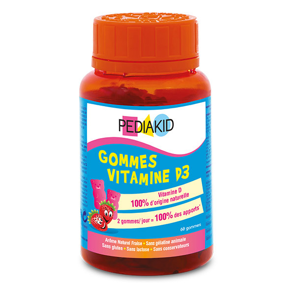 Pediakid - Pediakid® Gommes Vitamine D3 - Goût Fraise - 60 oursons