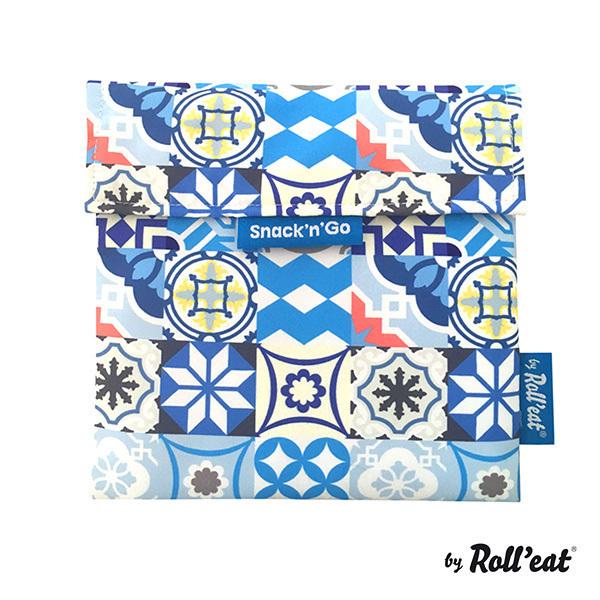 Roll'eat - Sac à goûter Snack'n'Go Patchwork Bleu
