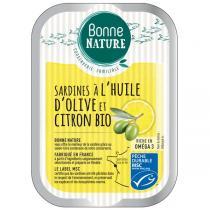 Bonne Nature - Sardines à l'huile d'olive & citron bio (sans arêtes) 115g