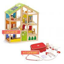 Hape - Maison de poupée meublée + 1 Kit Allo Docteur OFFERT