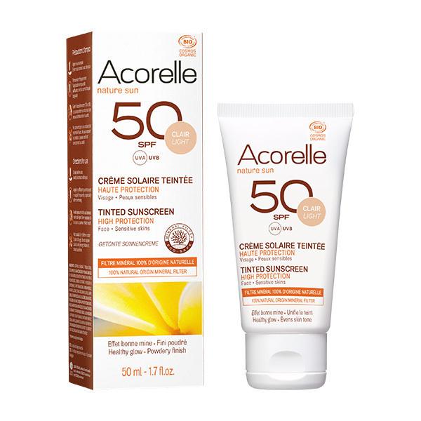 Acorelle - Creme Solaire Teintee SPF50 - Teinte claire - 50ml