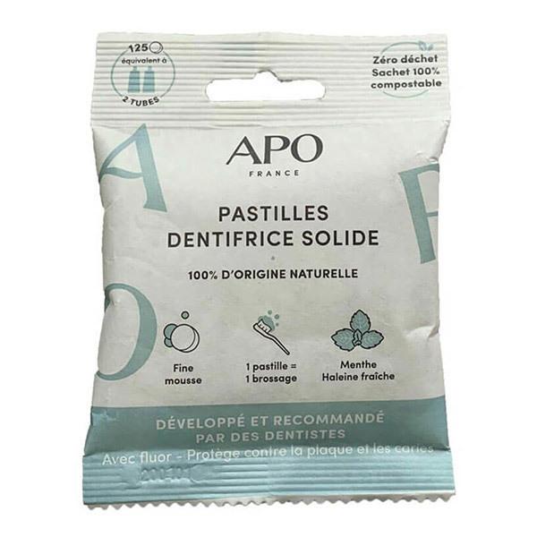 APO - Dentifrice solide à la menthe - 125 pastilles