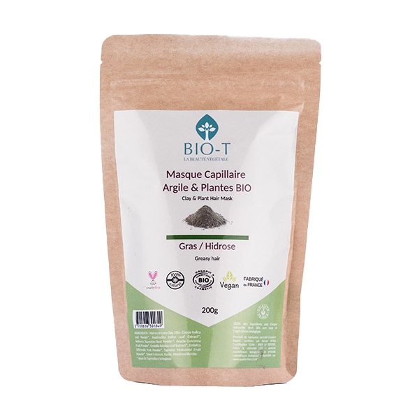 BIO-T - Masque argile et plantes ayurvédiques bio Gras 200g