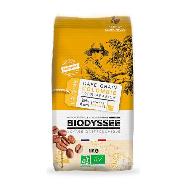 Biodyssée - Café en grains 100% arabica de Colombie - Riche & corsé 1KG