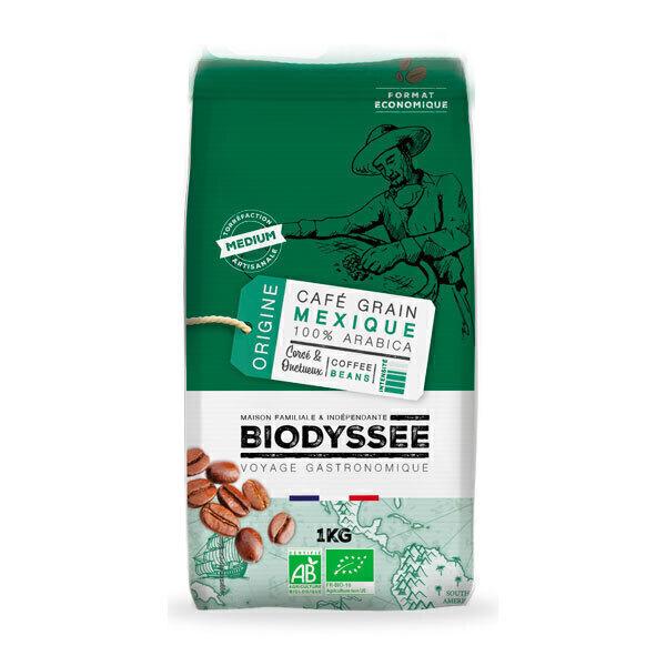 Biodyssée - Café en grains 100% arabica du Mexique - Corsé & onctueux 1KG