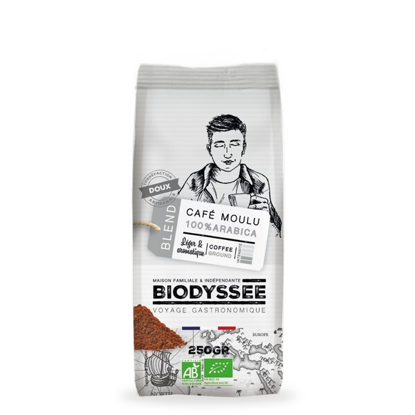 Biodyssée - Café moulu 100% arabica - Doux 250g