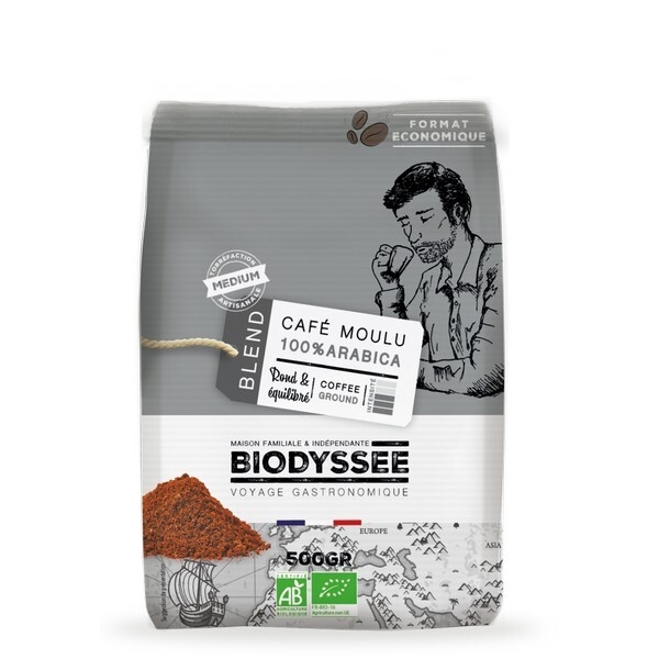 Biodyssée - Café moulu 100% arabica - Médium 500g