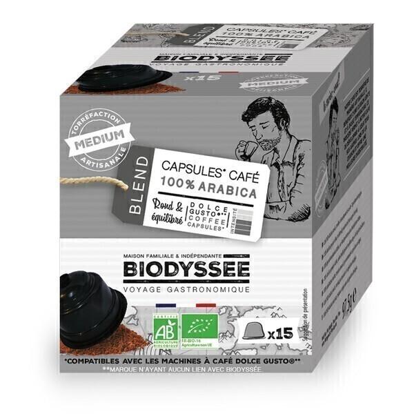 Biodyssée - Capsules compatibles Dolce Gusto - 100% arabica Medium x15