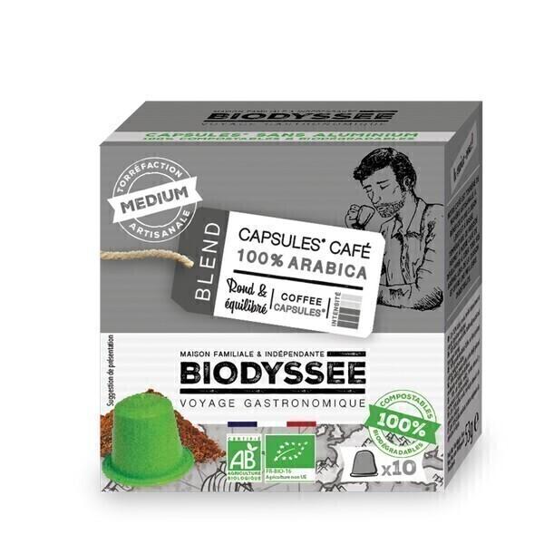 Biodyssée - Capsules 100% arabica Medium compatibles Nespresso x10